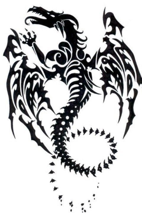awesome tribal dragon tattoo #dragon #tattoos #tattoo:                                                                                                …
