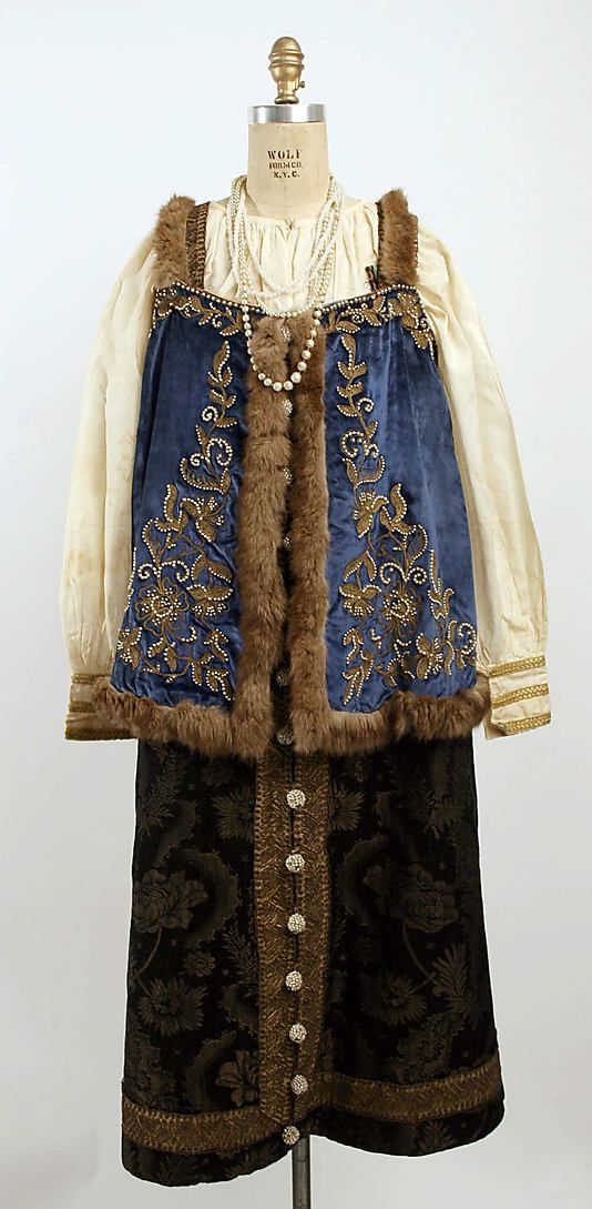 Ensemble Date: late 19th century Culture: Russian Medium: velvet, silk, cotton