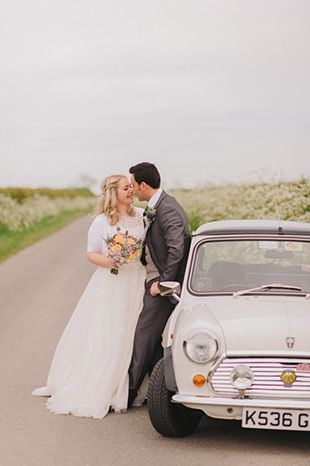 Cream mini cooper wedding car | www.onefabday.com