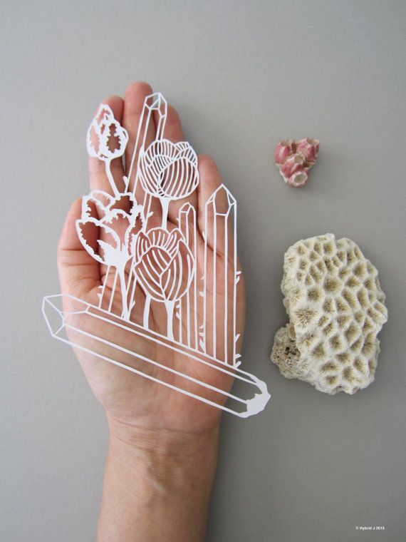 MINI Magical Flower and Crystals Papercut  Tulip and by HybridJ