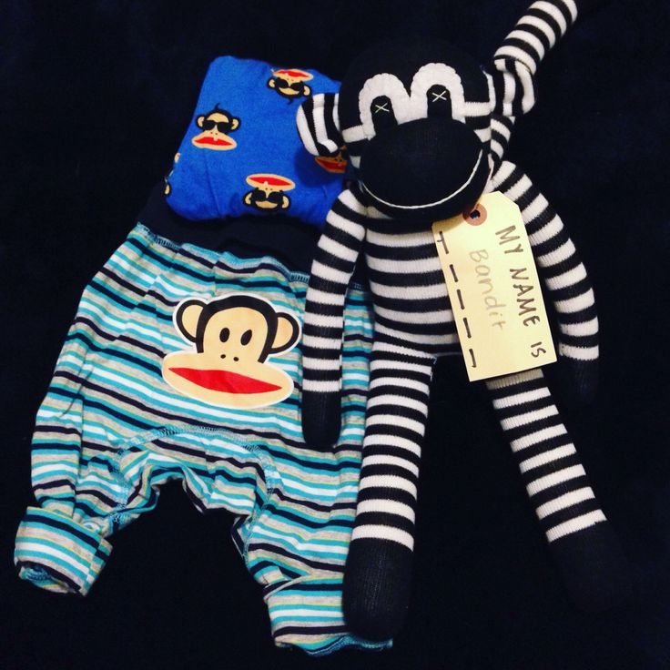Sock monkey and Paul frank pants in baby flat lay by Carrie