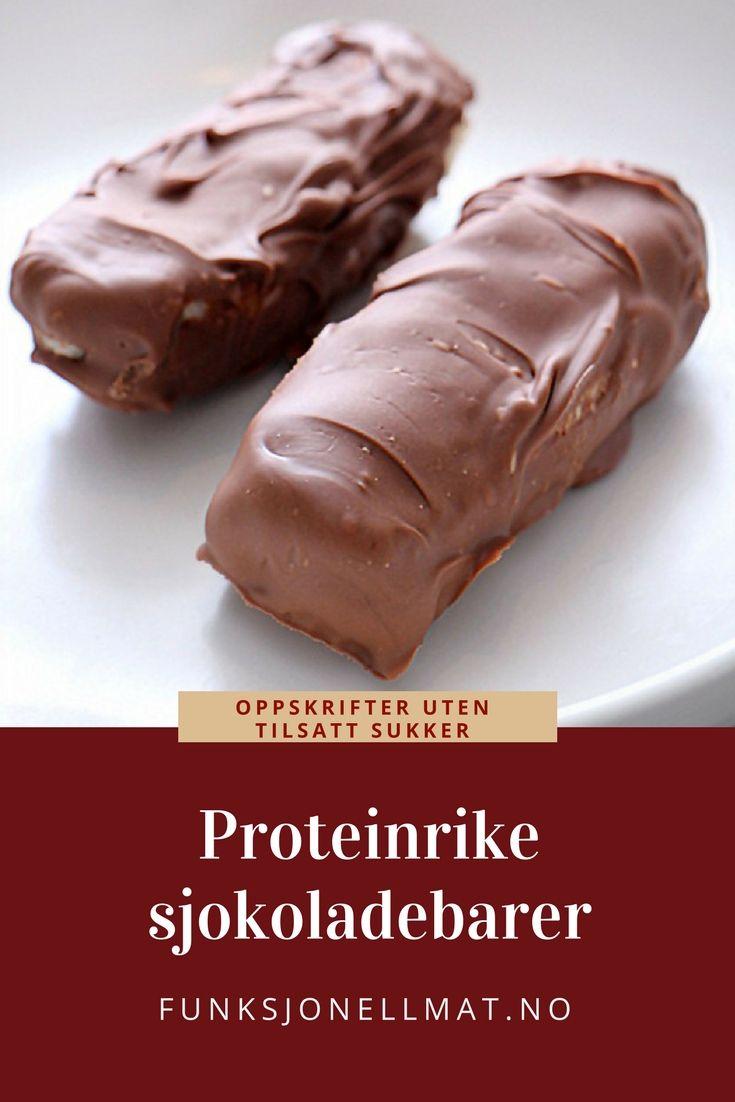 Proteinrike sjokoladebarer - Funksjonell Mat | Sunn snacks | Oppskrifter uten tilsatt sukker | Sukkerfritt godteri | Proteinrik snacks | Sukkerfri sjokolade