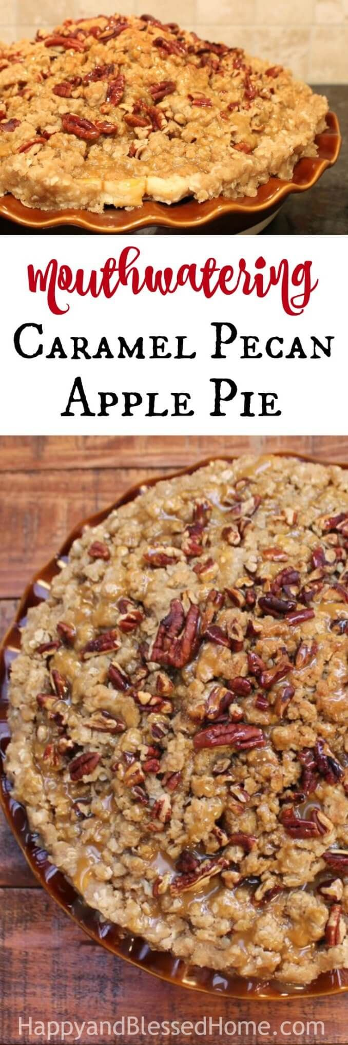 Mouthwatering Caramel Pecan Apple Pie in 9 Easy Steps - As soon as they see it, everyone will realize that THIS pie recipe cannot be found in a store. And when they taste it — well, they'll KNOW it's a homemade dessert. The WOW factor of this apple pie comes from the sheer volume of loads of peeled and sliced apples piled high enough to create a pie mountain. You bake the pie until the entire thing is juicy and warm with a crunchy topping, and then you drizzle on caramel sauce.