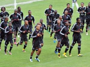 The Orlando Pirates team warming up.