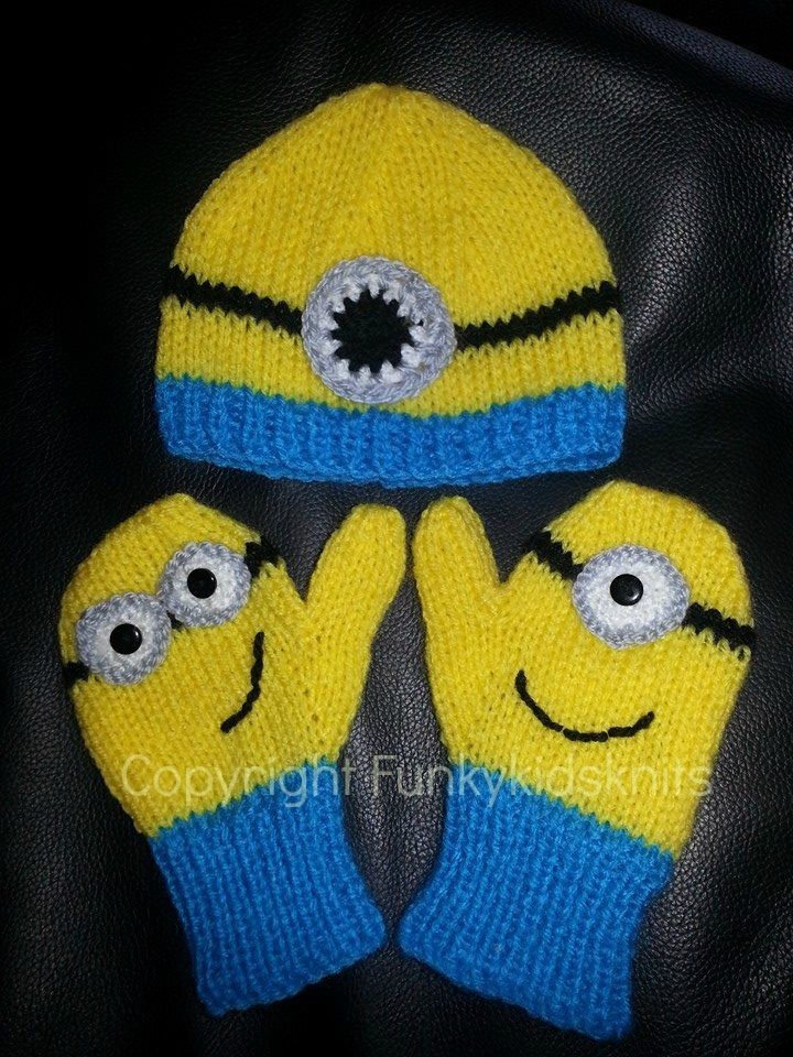 Knitted Minion Hat and Mitten Set  www.facebook.com/funkykidsknits  Available in Sizes from Baby to Adult