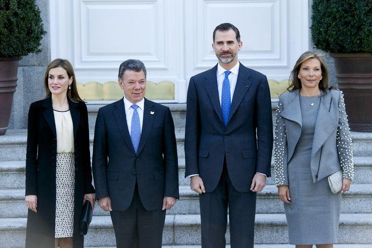 Queen Letizia and King Felipe VI received the President of Colombia Juan Manuel Santos and Maria Clemencia Rodriguez de Santos at El Pardo Royal Palace on March 1, 2015 in Madrid, Spain