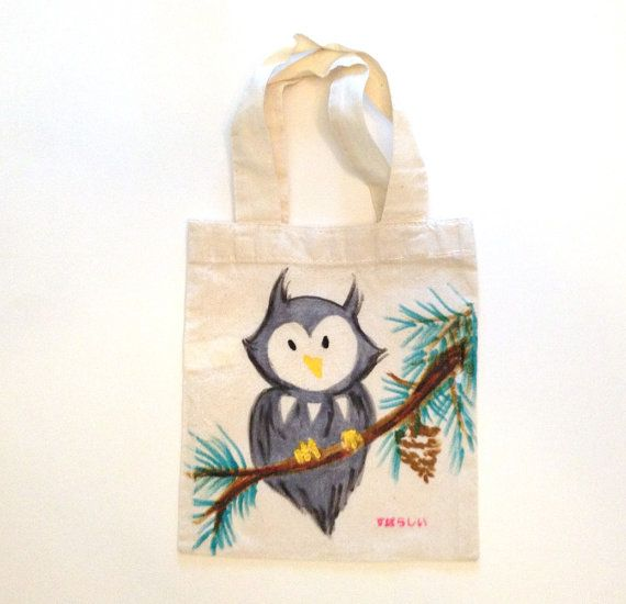 Owl Tote  One of a Kind by subarashii on Etsy