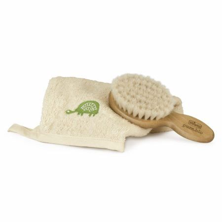 Chicco Set Pure Bio Hair Brush with Natural Bristles + Cotton Glove | Biuky