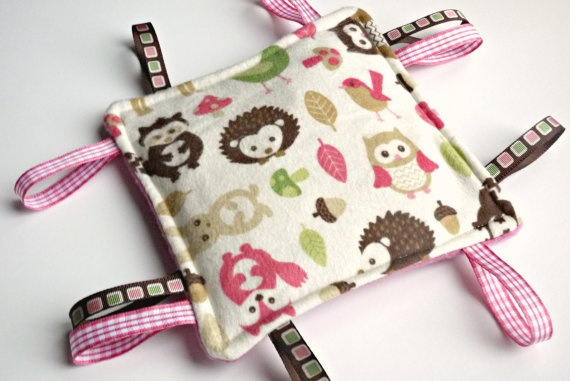 Crinkle Toy  Sensory Toy  Pink Woodland Animals by BirdieAndDot, $8.00