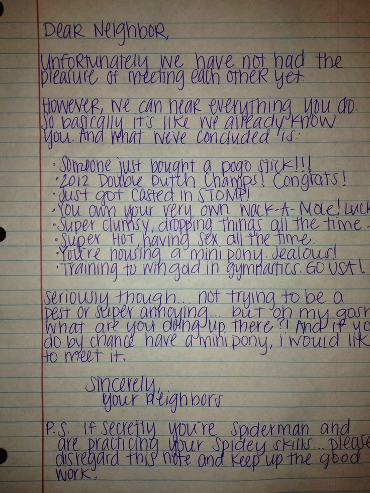 Letter to Upstairs Neighbors.