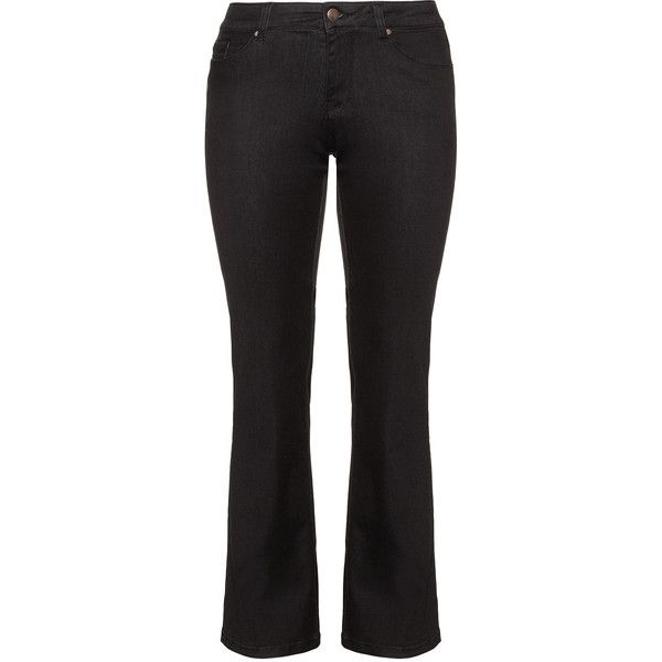 Zizzi Black Plus Size Sanna bootcut jeans ($79) ❤ liked on Polyvore featuring jeans, black, plus size, stretch bootcut jeans, plus size bootcut jeans, slim fit bootcut jeans, boot-cut jeans and stretch jeans