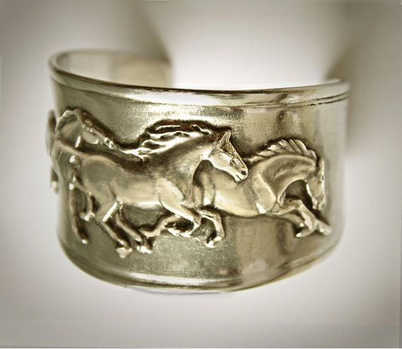 Galloping Mustangs Frieze on cuff bracelet etsy - horse lady gifts