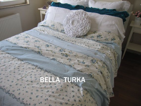 Blue White Floral Bedding, Floral Duvet Cover Twin XL Cal King Double Full, Dorm…