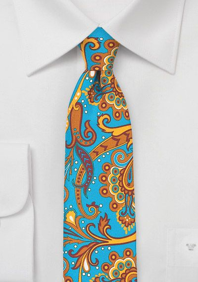 Slim necktie - Big yellow and blue floral pattern, near paisley Notch