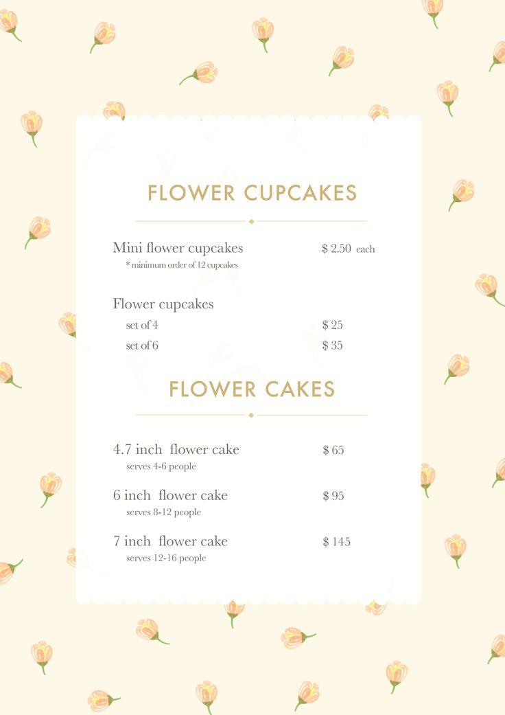 Teddy's Flower Cakes Menu draft by Jane Haemin Lee