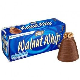 Walnut Whip are a delicious whirl-shaped cone of milk chocolate with a whipped vanilla fondant filling, topped with a half-walnut. Did you know, almost one Walnut Whip is eaten every 2 seconds in the UK?