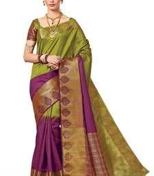 Buy mehendi woven banarasi silk saree with blouse banarasi-silk-saree online