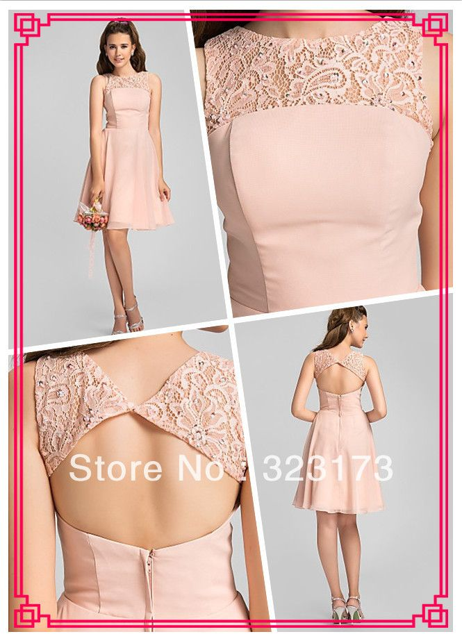 Pink A-line Jewel Knee-length Beading Chiffon Lace Bridesmaid Dress Camo Homecoming Dresses $109.90