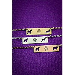 Two Pets Family Custom Dog BAR Necklace - IBD - Layering Charm - Personalize with Animal Breed - Choose Chain Length - Sterling Silver 14K Rose Gold Filled - Ships in 2 Business Days