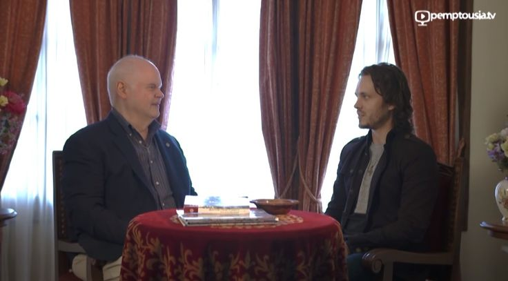 Author Dr. Norris Chumley and musician and Holywood actor Jonathan Jackson, at their visit to the Monastery of Vatopaidi - Mt Athos, Greece, discuss on God's presence in human life