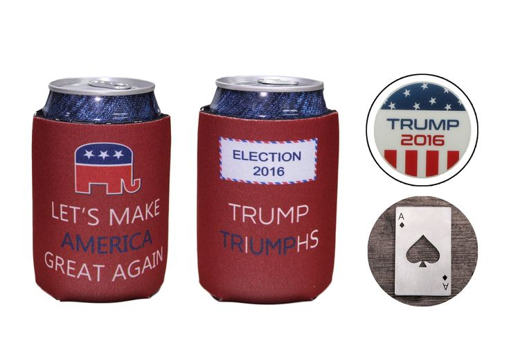 Donald Trump Neoprene Beer Beverage Drink Can Coolie Cooler Insulators (2 pcs, 2016 Presidential Election Victory Edition Set) with One Bonus Trump Button Pin and Ace of Spade Bottle Opener