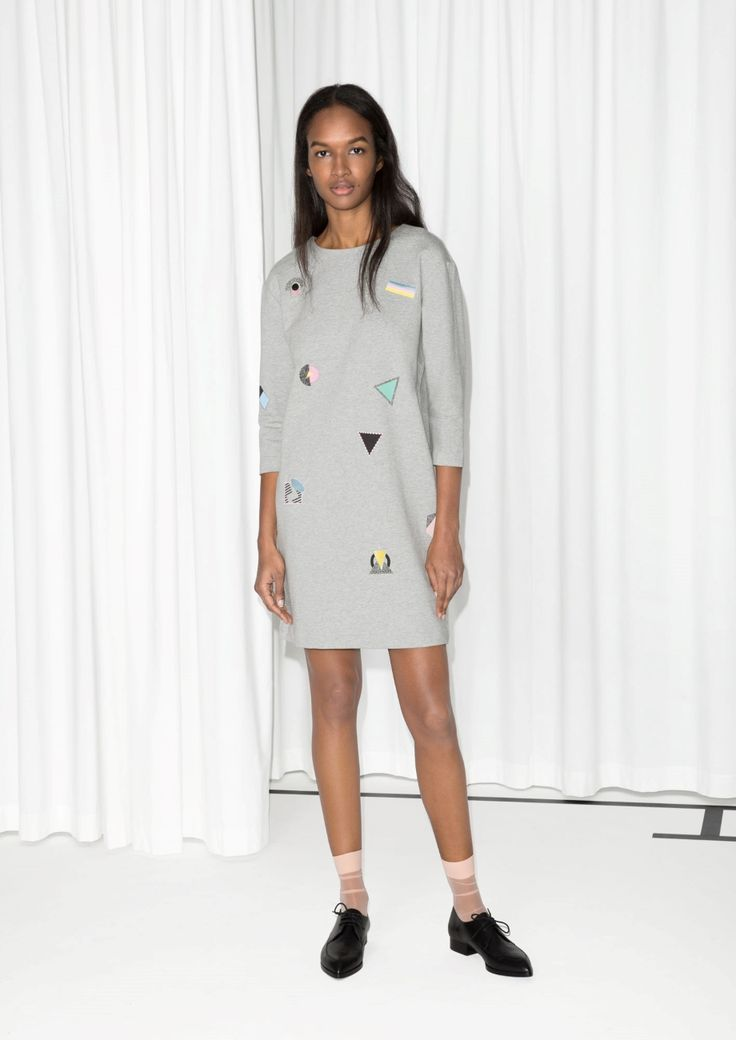 & Other Stories | Embroidered Sweatshirt Dress