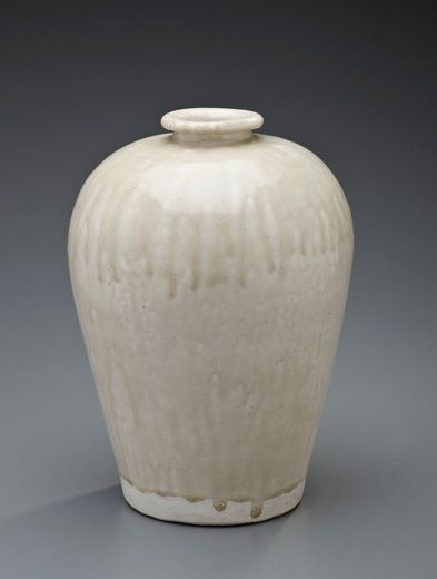A White-glazed Meiping. Tang Dynasty (618-907).