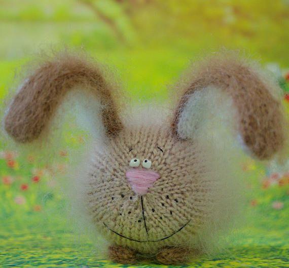 Beige Rabbit toy Amigurumi Hand-Knitted rabbit Stuffed rabbits