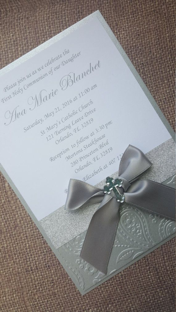 Deluxe Handmade Communion/Christening/Baptism Invitations. Luxurious silver satin two-layered embossed invitation finished with a satin bow