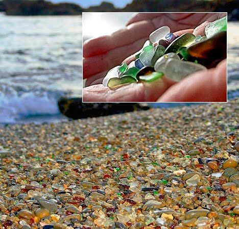 Glass Beach, Fort Bragg, North Carolina. This ocean coast used to be a dump and now it's a protected state park but all the glass thrown into the ocean has now been beaten and returned to shore as sea glass!