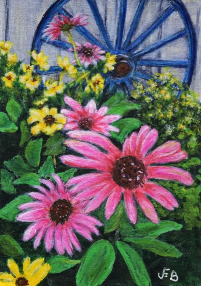ACEO 'Wagon Wheel and Flowers' -  original acrylic by JEB