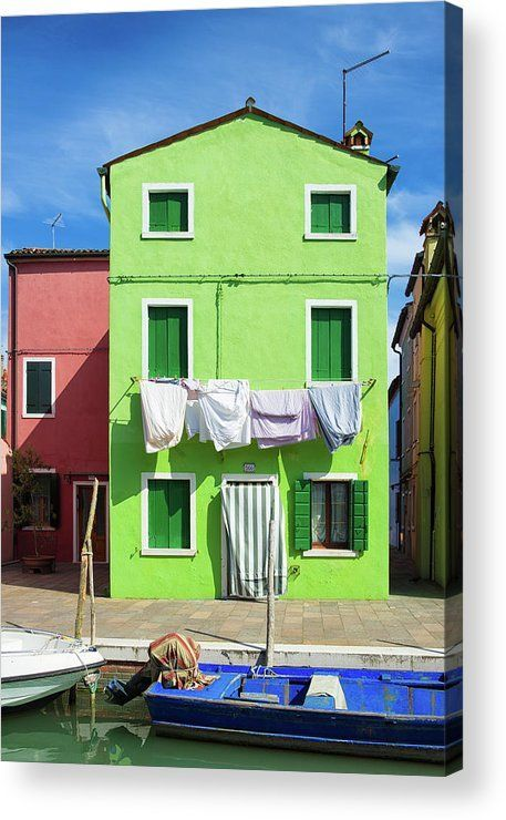 Green house in Venice Acrylic Print for sale. Burano is the most colorful part of lovely Venice in Italy, the houses are wonderful. The image gets printed directly onto the back of a sheet of clear acrylic. The image is the art - it doesn't get any cleaner than that! Matthias Hauser - Art for your Home Decor and Interior Design.
