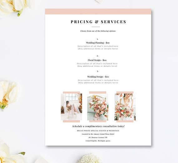 Wedding Planner Price List Template Event Coordinator Pricing List Customizeable Pricing Guide In Price List Template Event Planning Business Event Planning