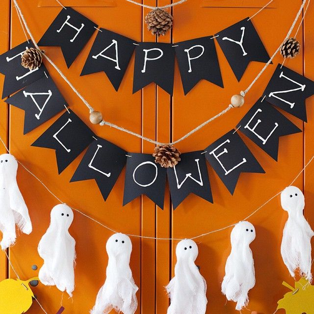 Pin for Later: 60+ of the Most Spooktacular Halloween DIYs Happy Halloween Banner While this Happy Halloween banner won't scare your guests, they will be lusting after it!