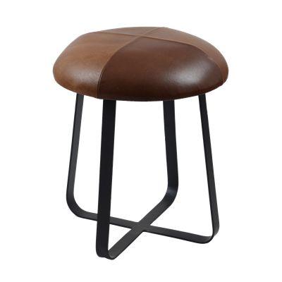 Krukje Ferro met bruin leer #Wonen #Casabella #Kruk #Furniture