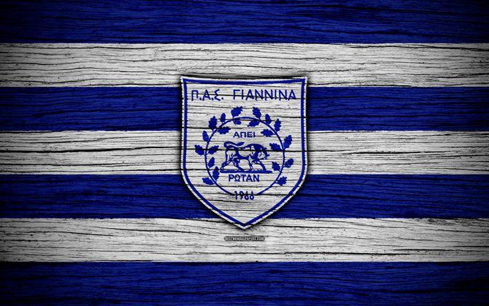 Download wallpapers Giannina FC, 4k, wooden texture, Greek Super League, soccer, football club, Greece, Giannina, logo, FC Giannina