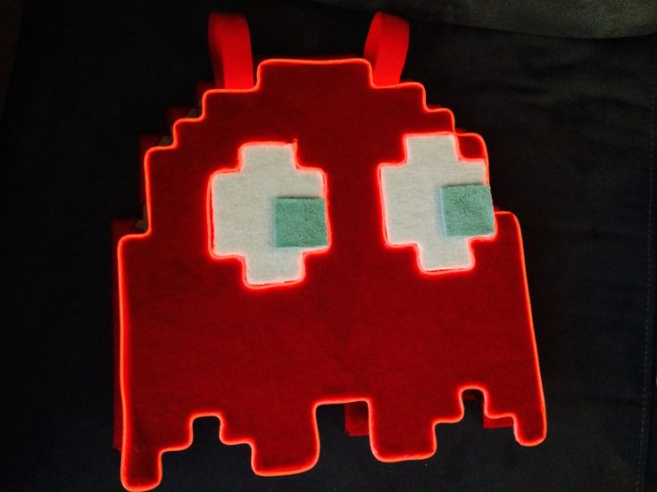 pacman ghosts costume cardboard covered with fleece and elwire for lightings
