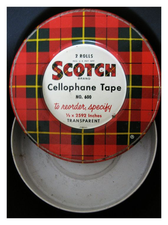 VINTAGE 1950s SCOTCH Cellophane Tape No. 600 by cosmicpeaces, $12.75