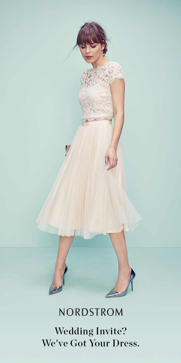 What to wear to a wedding? A lovely lace top plus a pleated tulle skirt is the perfect combination for happily ever after.