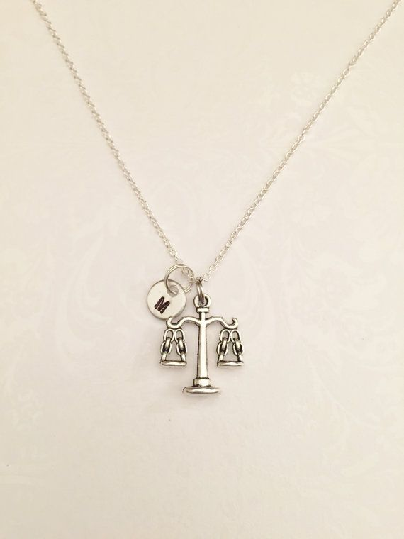 Scales of Justice Necklace with Initial Gift for Attorney, Judge, Law Student, Lawyer, Criminal Attorney, Paralegal, Legal Assistant