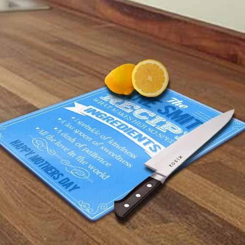 Gift Society   Personalised 'Recipe of Mum' Glass Chopping Board