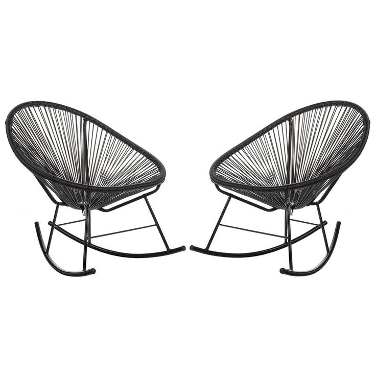 Black wicker outdoor rocking chairs. Modern outdoor patio seating.