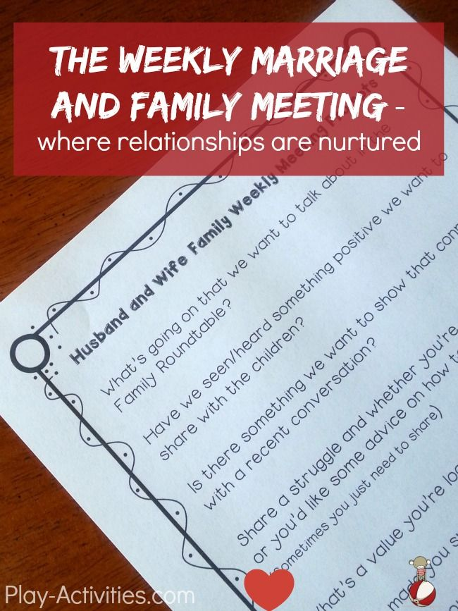 Simple way to keep positive conversation going within the family with a weekly marriage and family meeting. Grab the free printable for your next conversation at play-activities.com