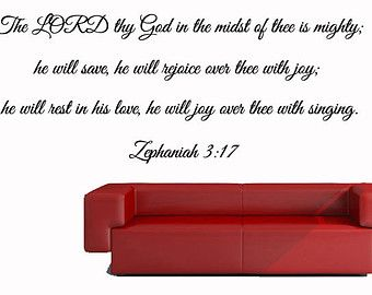 Check out Bible Verse Wall Decal of Zephaniah 3:17 - The Lord Thy God - Christian Wall Decal on inspirationwallsigns