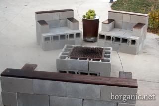 Cement Block Patio Furniture: Idea, Yard, Outdoor Patio, Cinder Blocks Furniture, Cinder Blocks Patio Furniture, Cement Blocks Chairs, Firepit, Diy Projects, Fire Pit