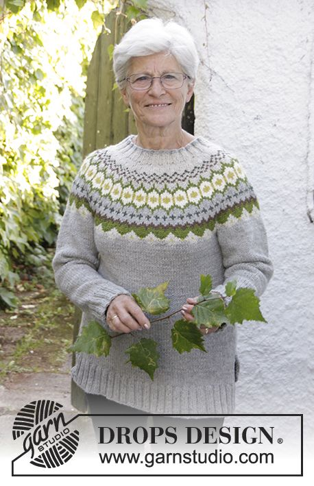 """Knitted DROPS jumper with round yoke, Nordic pattern, worked top down in """"Nepal"""". Size: S - XXXL. Free pattern by DROPS Design."""