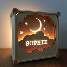 Lamp with name in the clouds by houtlokael on Etsy
