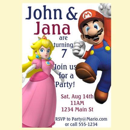 Princess Peach And Mario Birthday Party Invitation