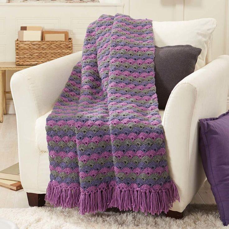 Shell-Stitch Crochet Throw Crochet Afghan Kit