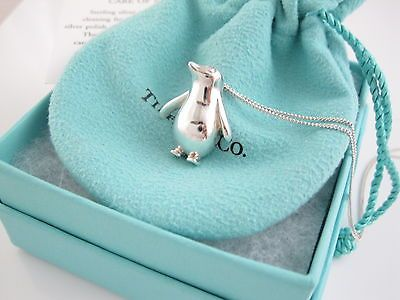 Tiffany & Co RARE Silver Penguin Bird Animal Pendant 18 Inch Necklace!